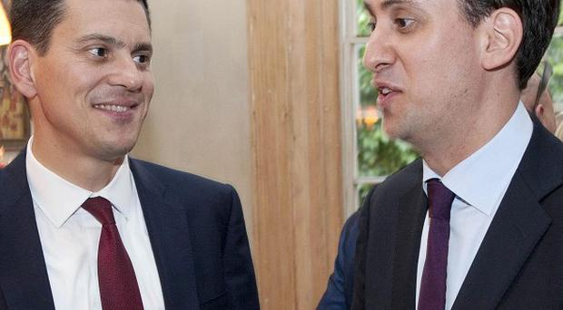 Labour party leader Ed Miliband and brother David attend a birthday party held in London on Wednewsday for Daily Mirror editor Richard Wallace