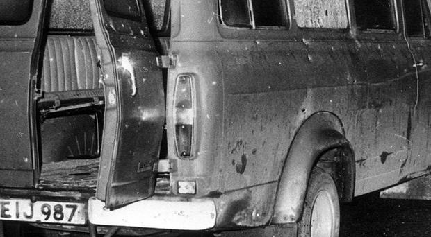 The bullet-riddled minibus near Whitecross in South Armagh where 10 Protestant workmen were shot dead