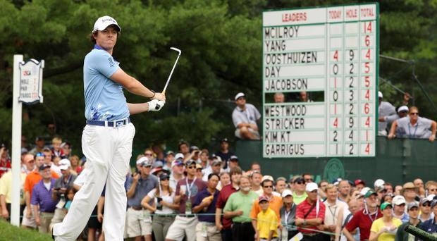 BETHESDA, MD - JUNE 19: Rory McIlroy of Northern Ireland watches his tee shot on the second hole during the final round of the 111th U.S. Open at Congressional Country Club on June 19, 2011 in Bethesda, Maryland. (Photo by Andrew Redington/Getty Images)