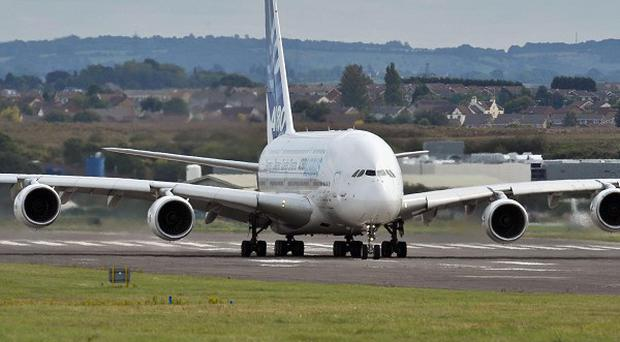 An Airbus A380 Superjumbo jet, star of its line-up