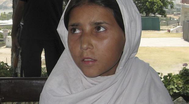 Sohana Jawed, the nine year old Pakistani girl, who said she was kidnapped to be used as a suicide bomber(AP)