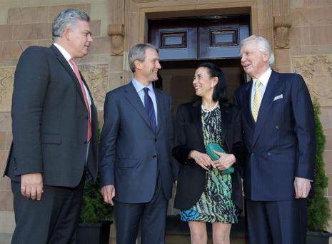 From left: INM chief executive Gavin O'Reilly, Secretary of State Owen Paterson, Lady O'Reilly and Sir Anthony O'Reilly at the Independent News and Media event at Hillsborough Castle last week