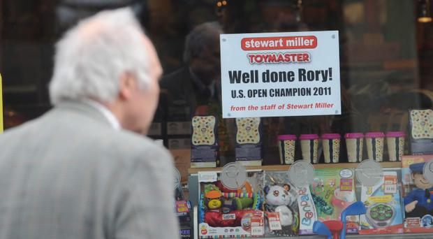 Local shops congradulate US Open Champion Rory McIlroy in Holywood ahead of his return home