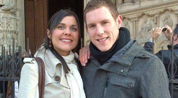 Michaela and John McAreavey outside Notre Dame Cathedral in Paris, France