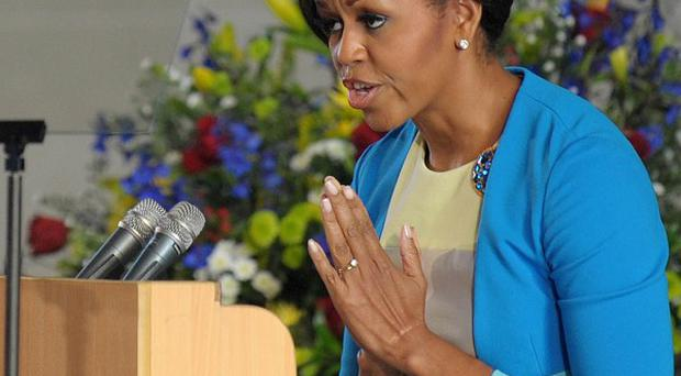 Michelle Obama speaks at the Regina Mundi Church in Soweto (AP)