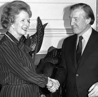 Former Taoiseach Charles Haughey with former British prime minister Margaret Thatcher during their meeting in May 1980