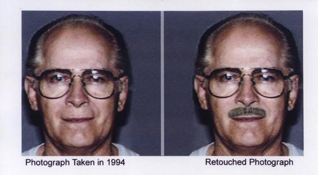 This combo of headshots shown during a publicity campaign to locate the fugitive mobster James
