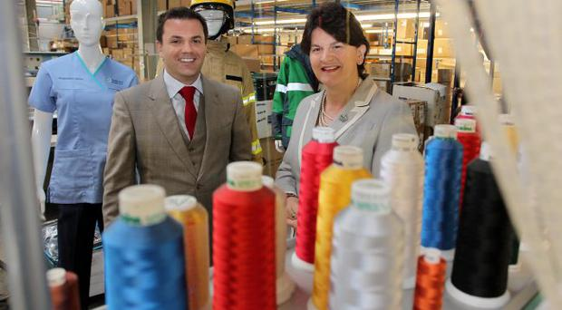 Enterprise Minister Arlene Foster has congratulated Londonderry firm Hunter Apparel on its continued growth in export markets as it celebrates its 75th anniversary.