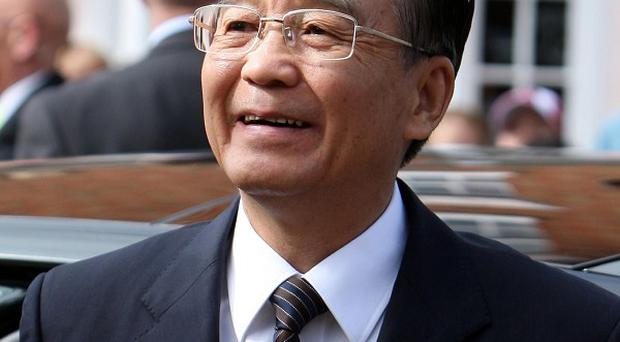 Chinese premier Wen Jiabao arrives at the Shakespeare Centre in Stratford-upon-Avon