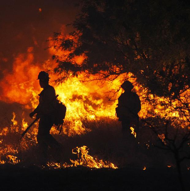 A US wildfire has grown to 3,500 acres since Sunday (AP)