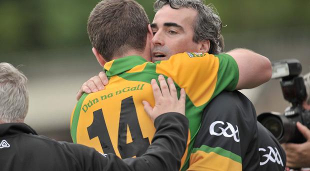Ulster GAA Football Senior Championship Semi-Final, St Tiernachs Park, Clones 26/6/2011Donegal vs TyroneDonegals Manager Jim McGuinness celebrates with Michael Murphy at the final whistleMandatory Credit ©INPHO/Presseye/Russell Pritchard