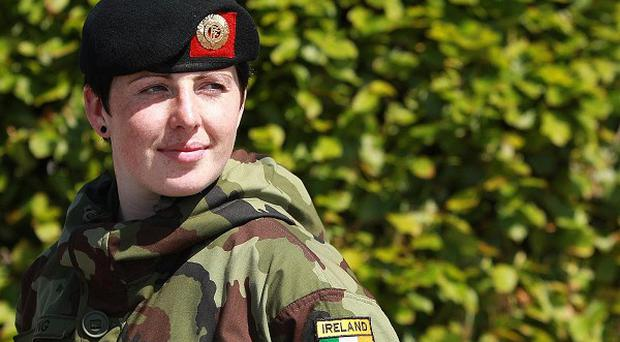 Private Emma Furlong, 20, the youngest one of the troops of 104th Infantry Battalion, at Custume Barracks, Co Westmeath