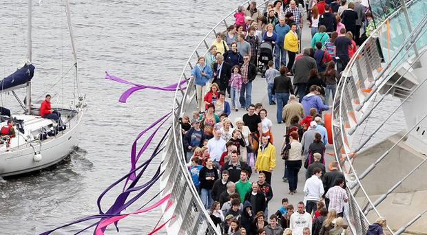 A Peace Bridge across the River Foyle in Londonderry has opened