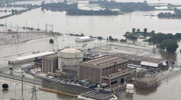The Fort Calhoun nuclear power station surrounded by flood waters from the Missouri River (AP)