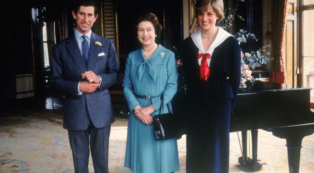 Prince Charles and his fiancee Lady Diana Spencer with Queen Elizabeth II at Buckingham Palace, 7th March 1981