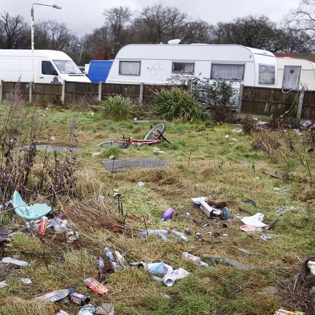 The Dale Farm site near Billericay, Essex where more than 60 traveller families face eviction
