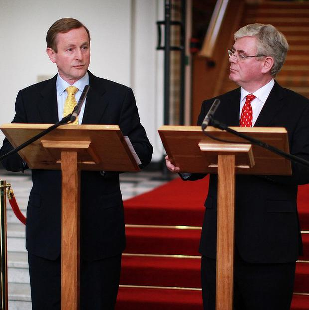 Taoiseach Enda Kenny (left) and Tanaiste Eamon Gilmore addressed the Irish Congress of Trade Unions