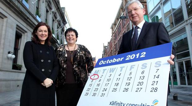 Robert Birmingham, managing director of Xafinity Consulting with Angela McGowan, Northern Bank chief economist, and business leader Joanne Stuart begin the countdown to the big change