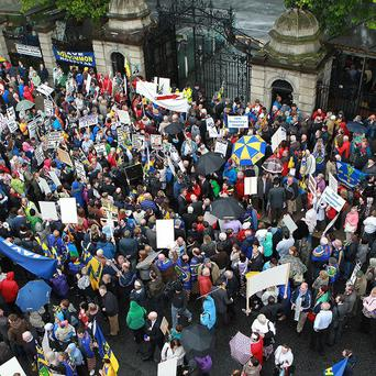 Protesters travelled from Roscommon to demonstrate outside the Dail over hospital cutbacks