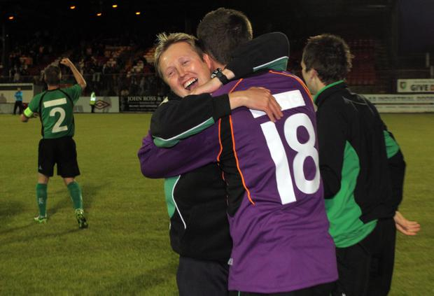 Glentoran manager Scott Young during last night's Europa League second leg game against FK Renova at the Oval, Belfast