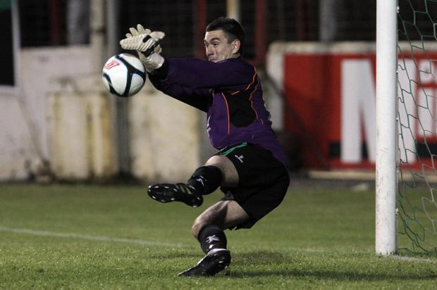 Glentoran keeper Aaron Hogg makes the decisive shootout save to earn his team a 2011 Europa Cup win on penalties over Renova of Macedonia