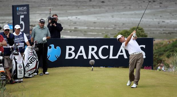 Graeme McDowell tees off during the second round of The Barclays Scottish Open at Castle Stuart Golf Links on July 8, 2011 in Inverness, Scotland