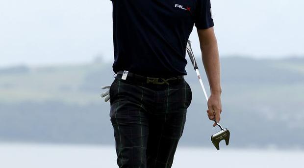 Luke Donald of England celebrates victory on the 18th green during the final round of The Barclays Scottish Open