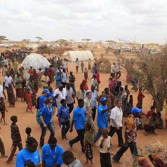 UN High Commissioner for Refugees Antonio Guterres visits Dagahaley Camp, outside Dadaab, Kenya (AP)