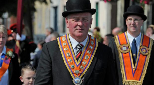 Grand Master of the Grand Orange Lodge of Ireland, Edward Stevenson on parade in Limavady on tuesday which hosted the main Twelfth of July County Londonderry Parade.