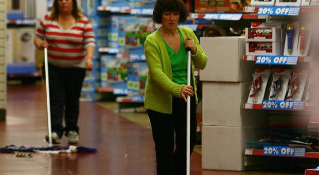 People are having to take lower-paid jobs such as cleaning because of a shift away from manufacturing, a report said