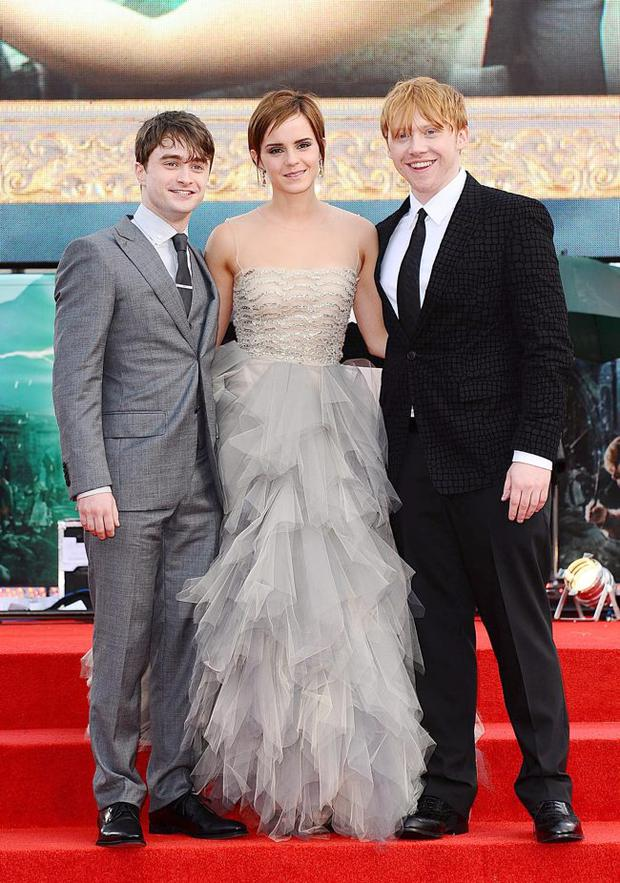 (L-R) Daniel Radcliffe, Emma Watson and Rupert Grint at the world premiere of Harry Potter And The Deathly Hallows: Part 2
