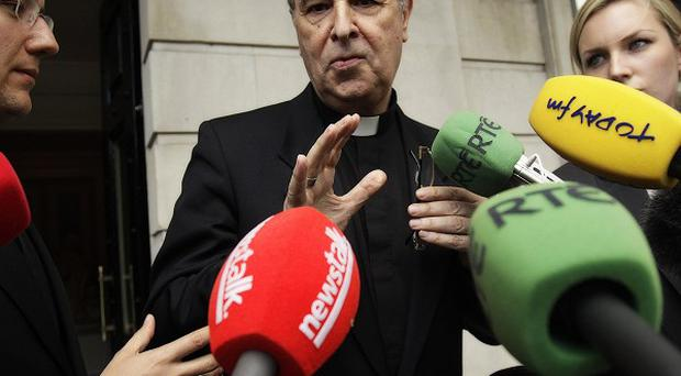 Papal Nuncio Archbishop Giuseppe Leanza speaks outside the Department of Foreign Affairs in Dublin
