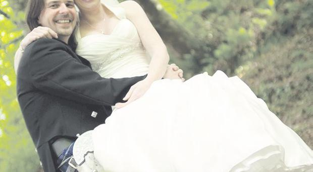 John and Anne are all smiles at Glenoe Waterfall <p><b>To send us your Wedding Pics <a href=