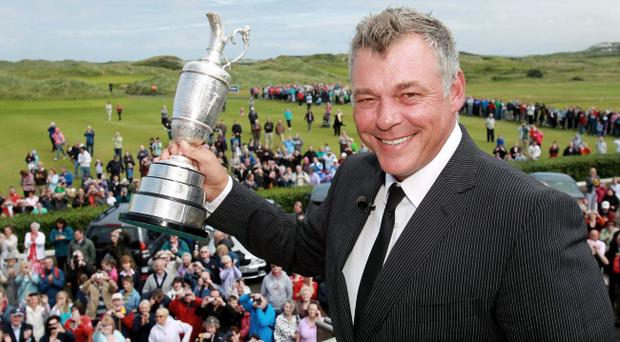 British Open Championship winner Darren Clarke returns to his adopted hometown club, Royal Portrush