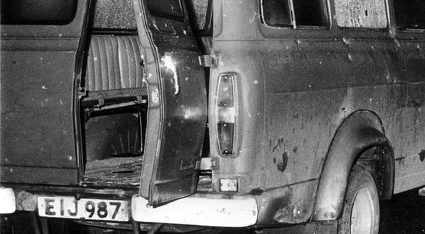 The bullet riddled minibus near Whitecross in South Armagh where 10 Protestant workers were shot dead