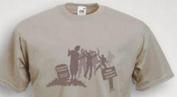 T-Shirt showing people dancing on Margaret Thatcher's grave