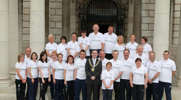 Lord Mayor of Belfast, Niall O Donnghaile, with local athletes who are taking part in the Westfield Health British Transplant Games