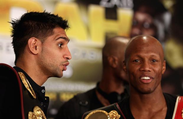 Amir Khan (left) and Zab Judah at a press conference at the Mandalay Bay Resort in Las Vegas