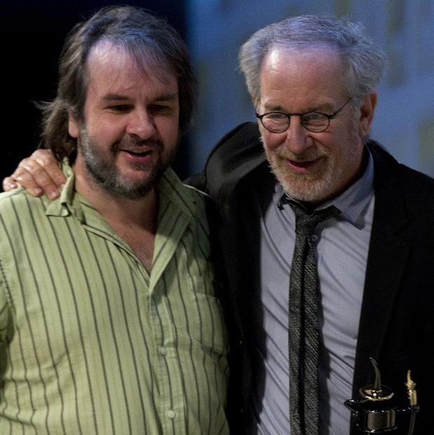 Directors Peter Jackson, left, and Steven Spielberg showed off footage of their action story The Adventures of Tintin (AP)
