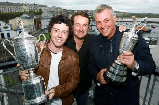 US Open Champions Rory McIlroy and Graeme McDowell with Open Championship winner Darren Clarke