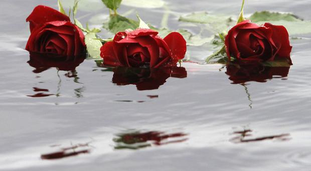Red roses float in the water close to Utoya island, where gunman Anders Behring Breivik killed at least 68 people (AP)