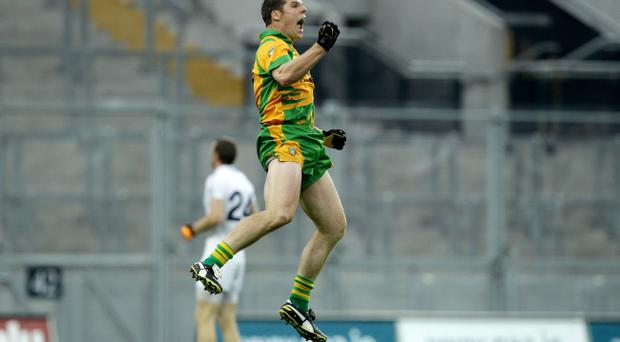 Donegal's Kevin Cassidy celebrates scoring the winning point in extra-time