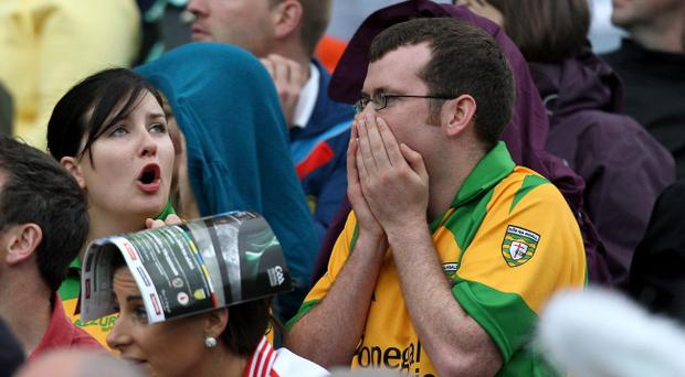 Fans react during Saturday's All-Ireland Championship quarter-final between Donegal and Kildare at Croke Park