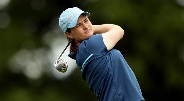Danielle McVeigh in practice for her first professional outing at the Irish Ladies Open at Killeen Castle, Co Meath