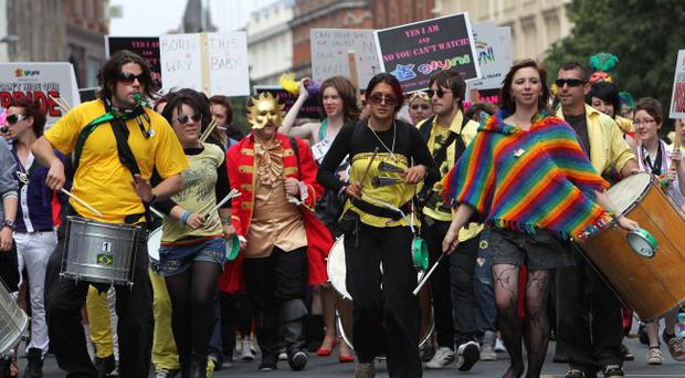 No love lost: the Gay Pride Parade, which took place in Belfast last weekend, drew fierce criticism from TUV leader Jim Allister