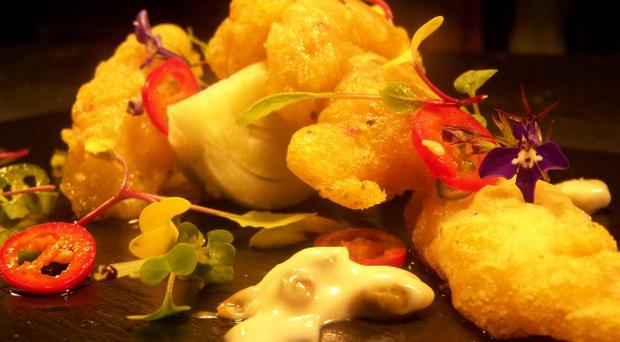 Dean Coppard's chilli salt squid and tempura prawn duo with asian slaw and mango and tomato salsa