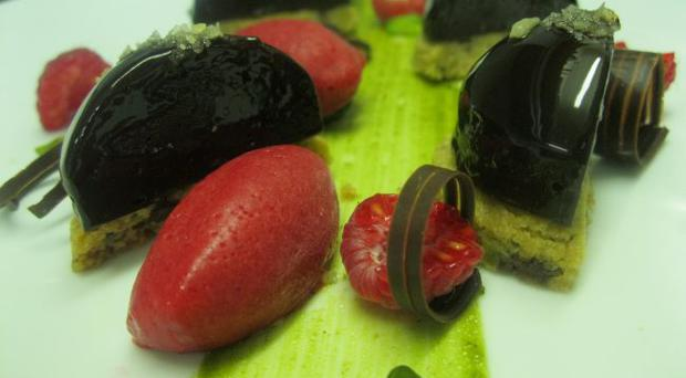 Stephen Hope's valrhona chocolate mousse, pistachio and chocolate chip cookies and raspberry sorbet