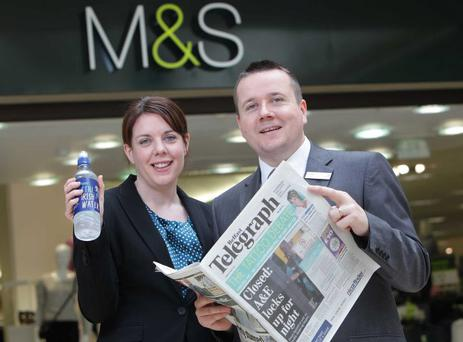 Lisa Williams, National Account Manager with Glenpatrick Spring Water is pictured with JP McShane, M&S Newry Store Manager marking the launch of the promotion.