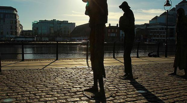 Statues along the River Liffey commemorating the Great Famine, the effects of which are being mapped online