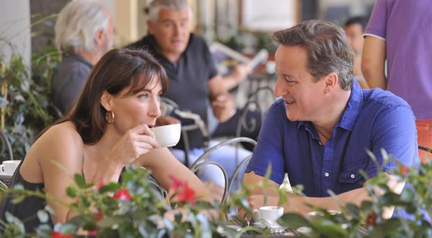 Prime Minister David Cameron and wife Samantha on holiday in Italy